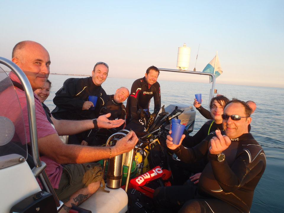 Divers on the boat