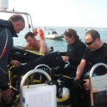 Divers getting ready on the boat